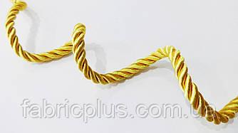 Шнур шторный атласный 5 мм насыщенный желтый