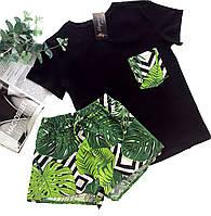 Пижама футболка и шорты S-M листья зеленый