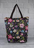 Сумка-шоппер-трансформер LeSportsac 9801-19 черная с цветочным принтом, текстильная, фото 1