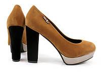 Стильные Удобные и модные женские туфли коричневого цвета на удобном каблуке!