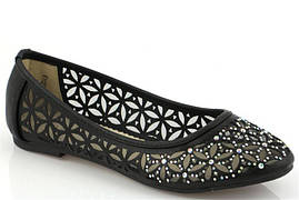 Стильные ажурные Женские балетки, лодочки туфли , туфли, на плоской подошве от производителя  черного цвета! Очень легкие и удобные!