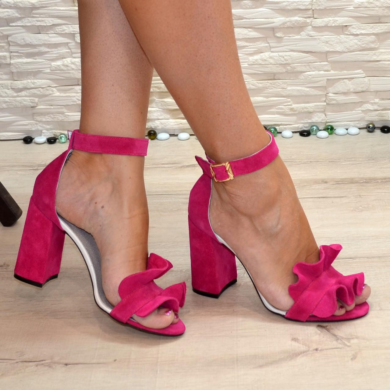 Босоножки женские замшевые на устойчивом высоком каблуке, цвет фуксия