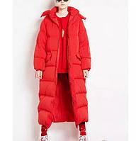 Яркий модный женский пуховик (экопух), красный, желтый, электрик. Оверсайз.