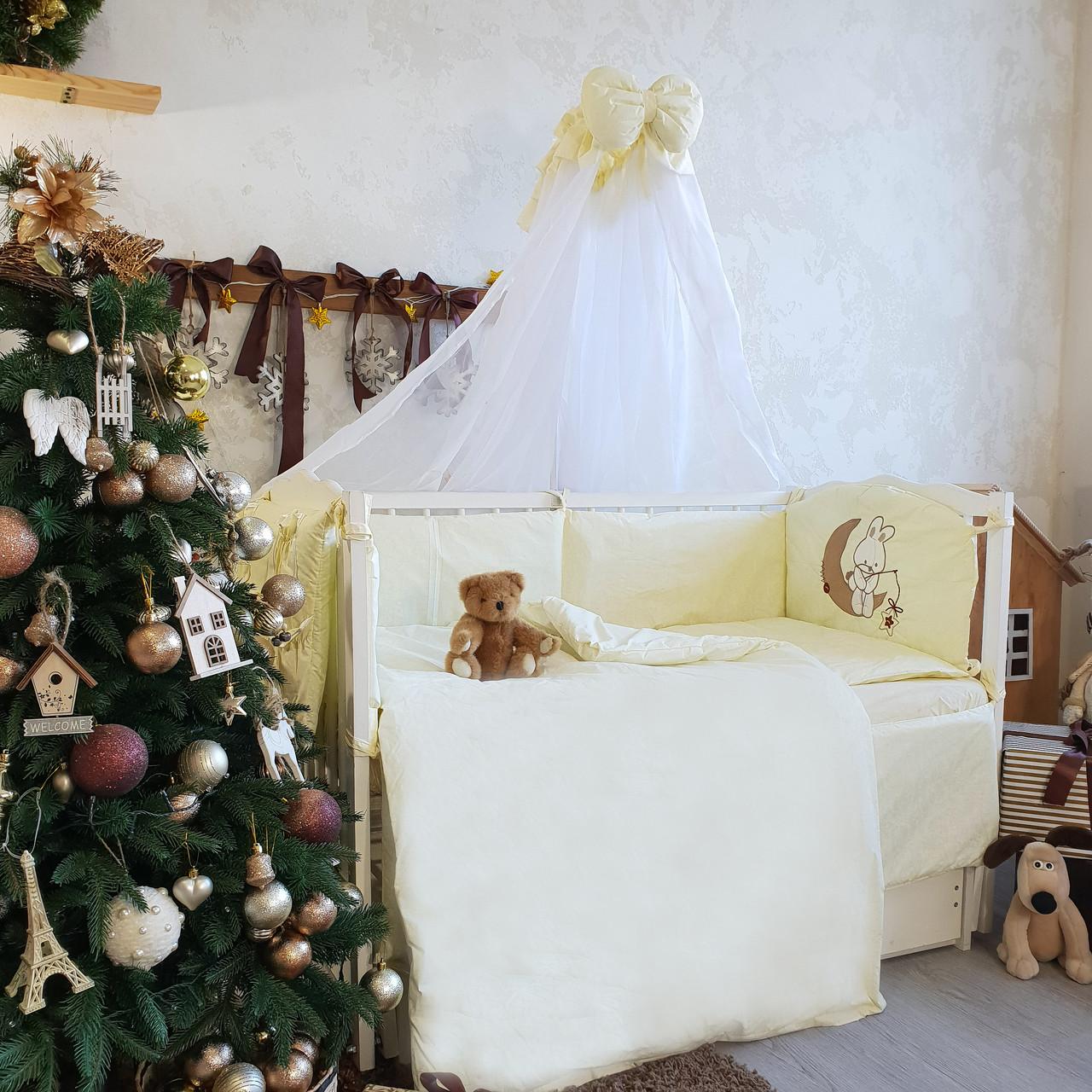 Детская постель Нежный Жаккард Зайчик на месяце 8 элементов (цвета в ассортименте)Бесплатная доставка