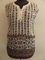 Блуза летняя удлиненная с орнаментом, по бокам присобрана, хорошо под джинсы или брюки р.48 код 4285М