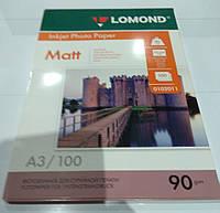 Бумага фото LOMOND А3 90 гр.матовая 100 листов