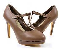 Стильные Удобные и модные женские туфли на каблуке коричневого цвета!
