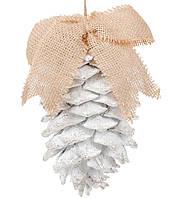 """Новогодний декор шишка-подвеска """"Шишка белая с бантиком"""" 14 см, цвет - белый, набор 6 шт"""