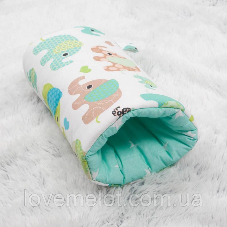 """Подушка для кормления малыша, подушка муфта на руку """"Мятный слоник"""""""