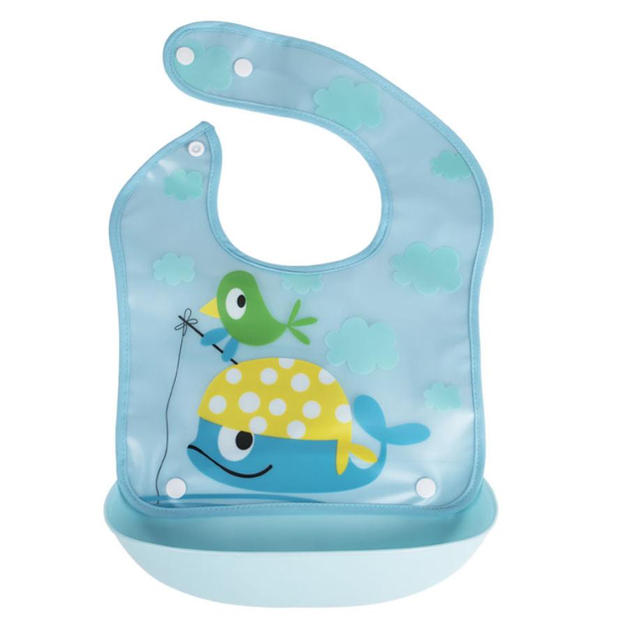 Нагрудник с жестким  пластиковым ковшом для крошек и жидкости