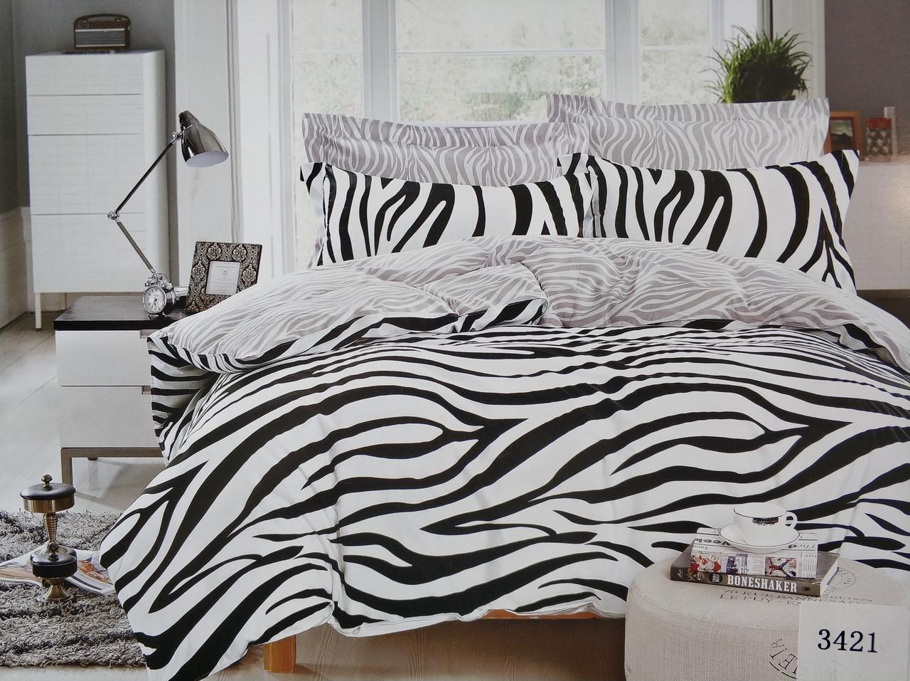 Сатиновое постельное белье евро ELWAY 3421 «Зебра»