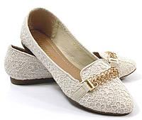 Стильные Женские балетки, лодочки туфли , туфли, на плоской подошве от производителя  бежевого цвета.