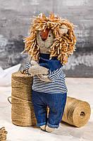 "Мягкая игрушка ручная работа лев 30 см  синий ""звірята-хіпстерята"" одежда снимается"