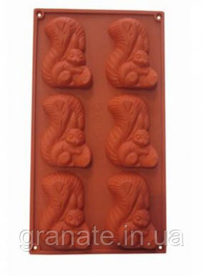 """Силиконовая форма для шоколада """"Белочка"""" 16,5х30х1см (8.6х1 см)"""