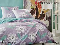 Сатиновое постельное белье евро ELWAY 5044 «Цветочный орнамент»