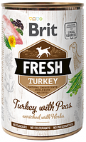 Консерви для собак Brit Fresh Turkey With Peas індичка, горох 400 гр (100157)