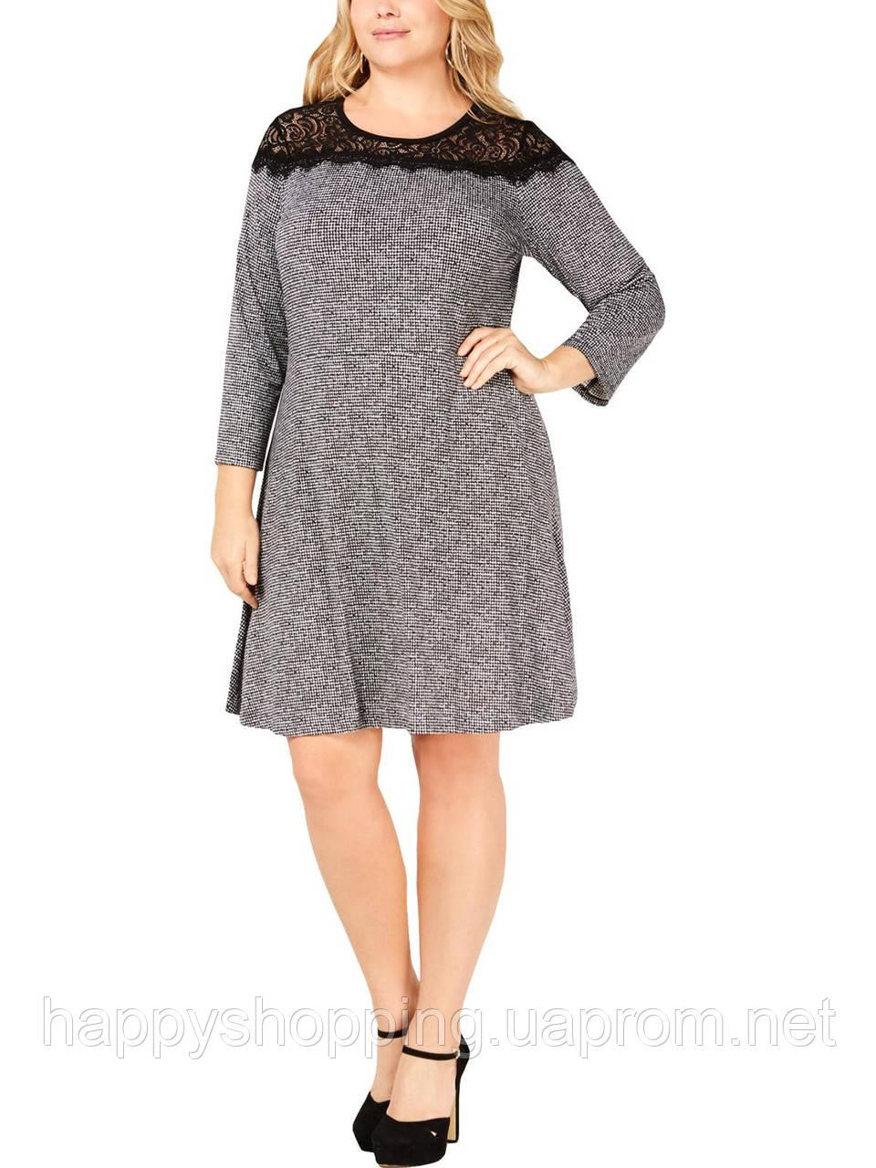 Женское черно-белое платье с ажурной вставкой Michael Kors