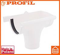 Водосточная пластиковая система PROFIL 130/100 (ПРОФИЛ ВОДОСТОК). Ливнеприемник правый P, белого цвета