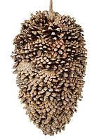 """Новогодний подвесной декор шишка-подвеска """"Шишка коричневая"""" 26 см, набор 2 шт"""
