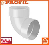 Водосточная пластиковая система PROFIL 130/100 (ПРОФИЛ ВОДОСТОК). Колено двухраструбное Ø100 60°, белого цвета