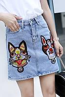 Джинсовая юбка с кошками в стиле Гуччи