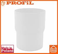 Водосточная пластиковая система PROFIL 130/100(ПРОФИЛ ВОДОСТОК). Соединитель водосточной трубы, белого цвета