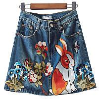 Юбка джинсовая женская в стиле Gucci с вышивкой аппликацией зайчиком р-р 42-44