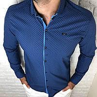 Рубашка мужская трансформер S,XXL длинный рукав. Турция. Молодежная турецкая рубашка. Синий