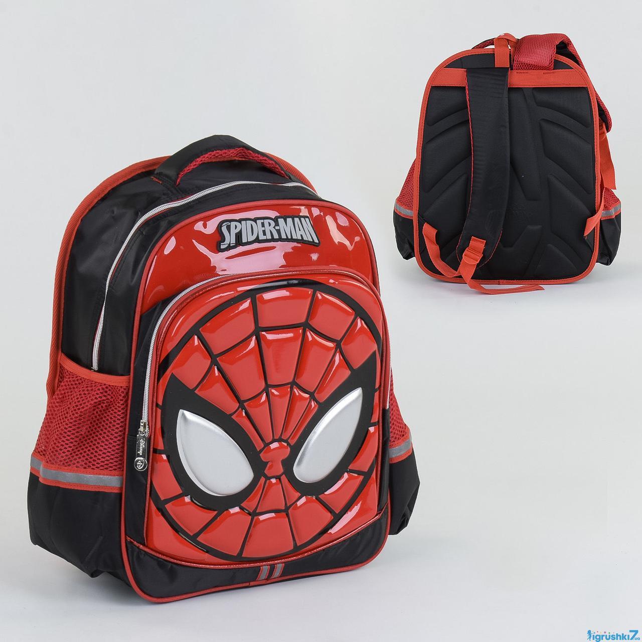 """Рюкзак школьный """"Spider Man"""" N 00209, 2 отделения, 2 кармана, ортопедическая спинка, 3D принт"""