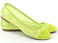 Стильные Женские балетки, лодочки туфли , туфли, на плоской подошве от производителя  салатового цвета! Очень легкие и удобные!