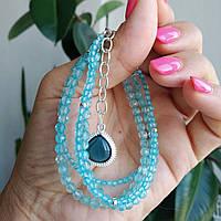 Браслет серебряный ′Голубой топаз′., фото 1