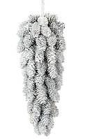 """Новогодний подвесной декор шишка-подвеска """"Композиция из белых шишек"""" 31 см, цвет белый, набор 4 шт"""