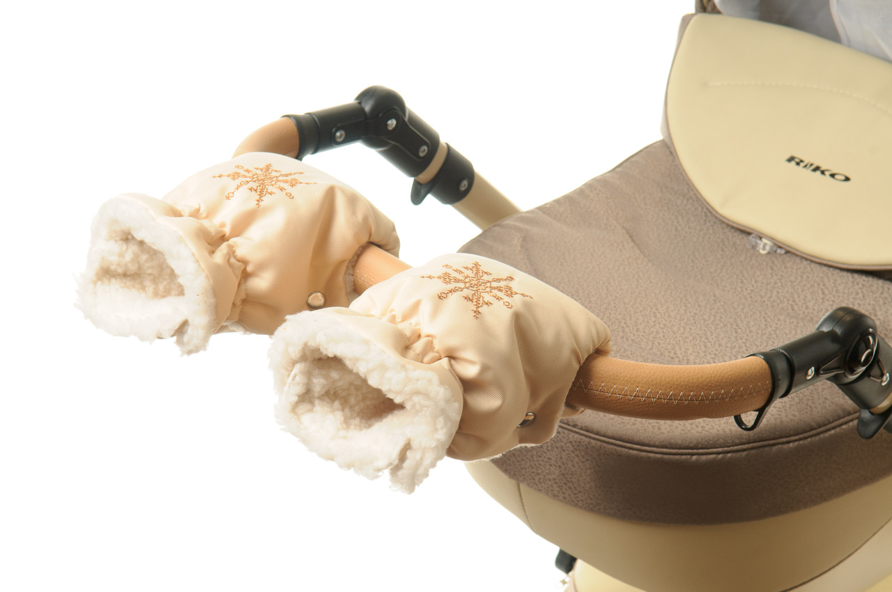 Рукавички-Муфта на коляску Ok Style Снежинка Светло бежевый
