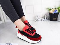 Женские кроссовки в черно-красном цвете, эко кожа+обувной текстиль 37 ПОСЛЕДНИЙ РАЗМЕР
