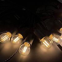 Ретро гирлянда для помещений Alphatrade, 5 метров 10 филаментных LED ламп, чёрная