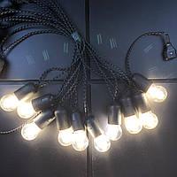 Ретро гирлянда для помещений Alphatrade, 10 метров 20 филаментных LED ламп, чёрная