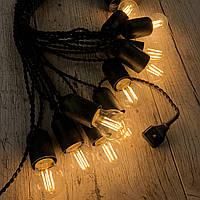 Ретро гирлянда для помещений Alphatrade, 15 метров 30 филаментных LED ламп, чёрная