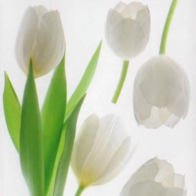 Наклейка, тюльпан, цветы, белый, декупаж, интерьерная Декор №23, фото 2