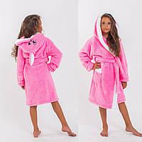 Детский махровый халат с ушами для девочки 2 3 4 5 6 лет розовый голубой