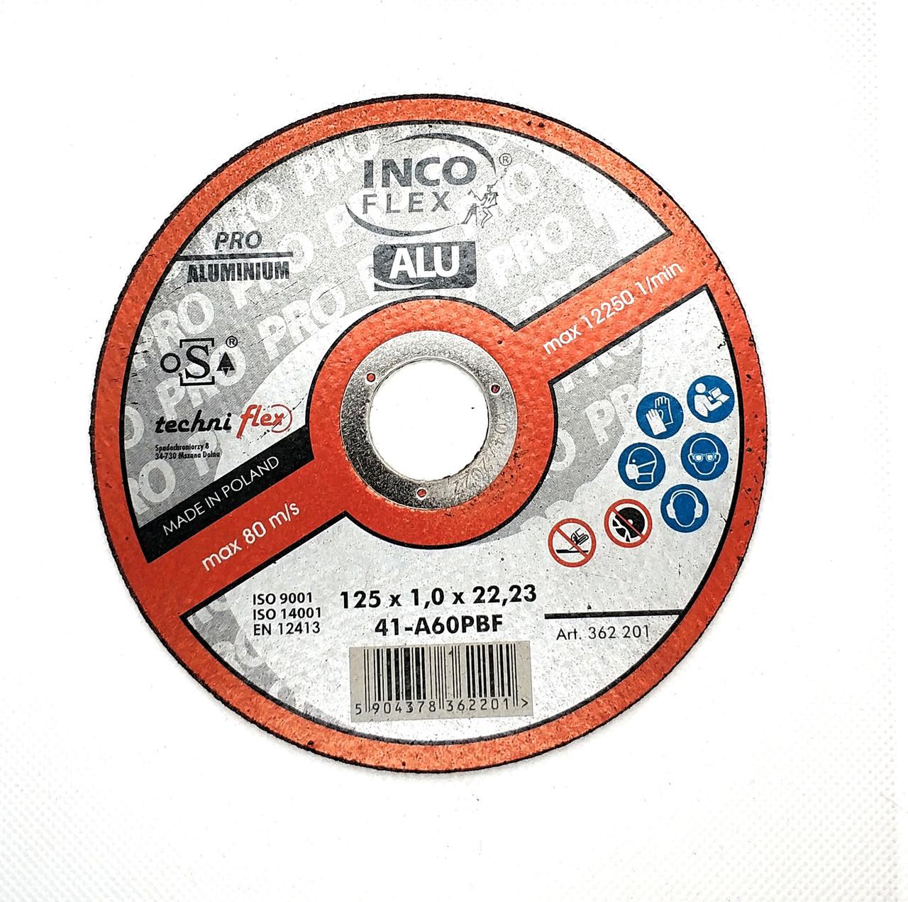 Круг відрізний по металу 125х1,0x22,23мм, A36PBF-41, ALU-PRO, IncoFlex (50)
