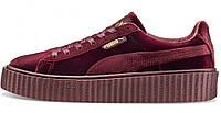 Женские кроссовки Rihanna x Puma Velvet Fenty Creeper Bordo (пума риана, бордовые)