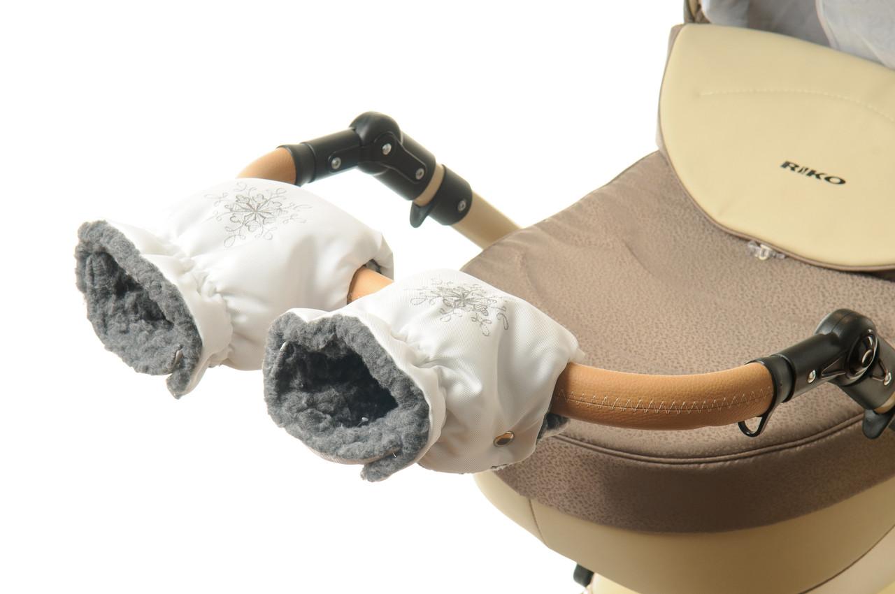 Рукавички-Муфта на коляску Ok Style Снежинка Белый