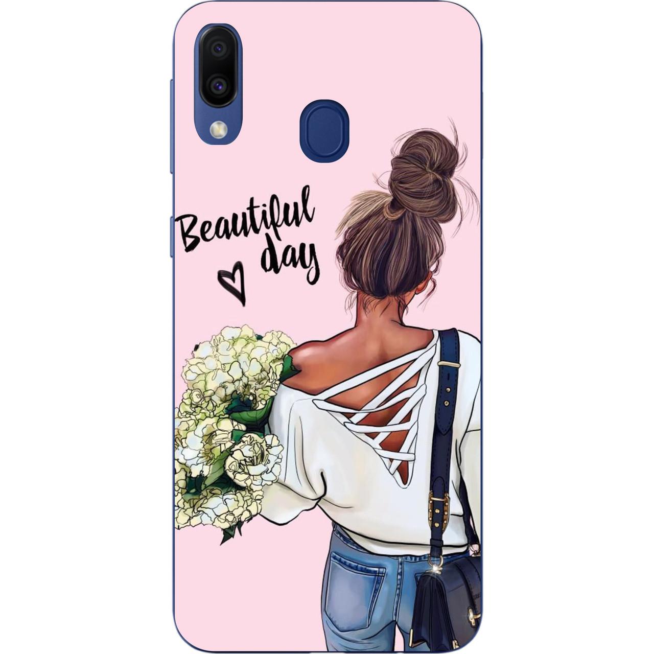 Чохол силіконовий для Samsung Galaxy A20 2019 A205F з картинкою Дівчина з букетом