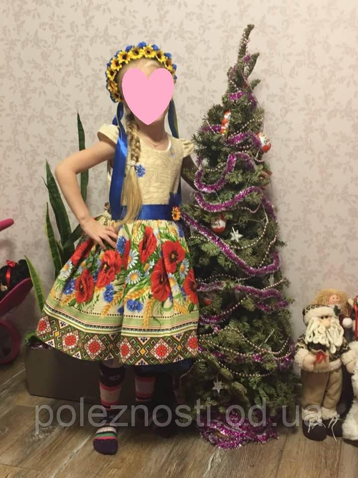 Платье Украиночки Маки, 5-6 лет (рост 115-120 см)