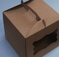 Тортовая упаковка, 300х300х250 с окошком (БУРАЯ Ц)