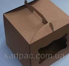 Упаковка для торта картон с окошком бурая 300х300х250