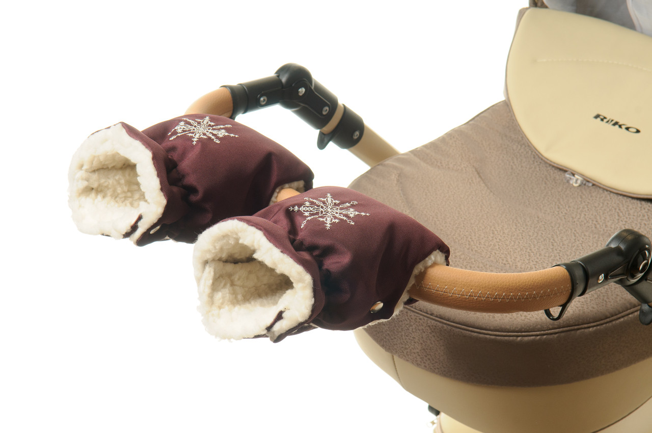 Рукавички-Муфта на коляску Ok Style Снежинка Бордовый