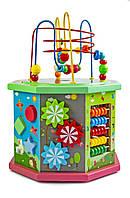 Деревянная развивающая игрушка-сортер 10 в 1, с пальчиковым лабиринтом
