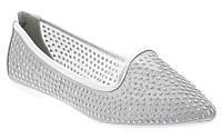 Стильные Женские балетки, лодочки туфли , туфли, на плоской подошве от производителя  серебристого цвета!