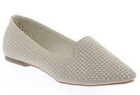 Стильные Женские балетки, лодочки туфли , туфли, на плоской подошве от производителя  бежевого цвета!
